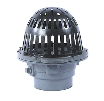 Small Area Roof Drain, Cast Iron, 8 in. Plastic Dome, Select OUTLET - Small Area Roof Drain, Epoxy Coated Cast Iron, 8 Inch Polyethylene Dome, Clamping Ring. Direct Connection for 2 to 4 inch pipes. Price/Each. (Watts RD-200; Select OUTLET SIZE before adding to cart)