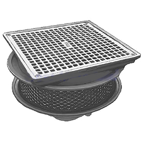 Smith 1409 Promenade Deck Drain, SPECIFY OPTIONS - Smith 1409 Promenade Deck Drain. 14x14 Square Iron Grate, Perforated Stainless Steel Extension, Secondary Flashing Clamp, 15-3/4 Cast Iron  Top Frame / Body. Price/Each. (Specify Outlet Type, Pipe Size, Extension Options before adding to cart)