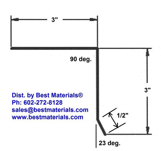 3 In X 3 In X 10 Ft Drip Edge Metal 24 Ga Steel Kynar