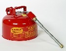 2-Gallon Type-2 Safety Can, Steel, Red, w/ Flex Metal Spout