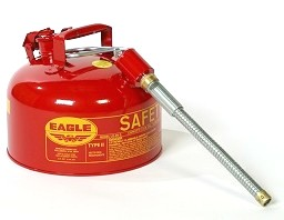 2-Gallon Type-2 Safety Can, Steel, Red, w/ Flex Metal Spout - EAGLE 2-GALLON TYPE-2 TRANSPORT CAN, RED STEEL, GAS SAFETY CAN WITH 7/8 in. FLEXIBLE METAL SPOUT. PRICE/EACH.