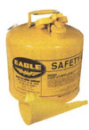 5-Gallon Type-1 Safety Can, Steel, Yellow Diesel, w/ Funnel - EAGLE 5 GALLON TYPE-1, YELLOW COLOR, STEEL DIESEL SAFETY CAN WITH FUNNEL. PRICE/EACH.