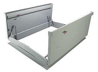 6 x 8 ft.  Double-Door Equipment Access Roof Hatch, Galv. - 6 x 8 ft. Double Door Equipment Access Roof Hatch, 14 Gauge Galvanized Steel with Gray Powder Coat Finish. Price/Each. (special order; leadtime 3-5 weeks, use FreightQuote Shipping)