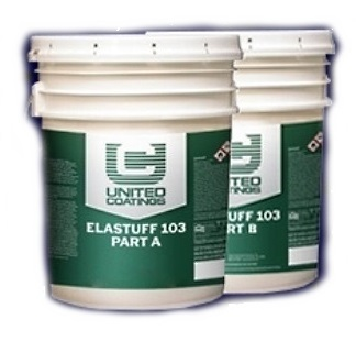 Elastuff 103 Polyurethane Waterproofing Topcoat, 2-Part, (5G) - Elastuff 103 Topcoating. 2 Part Polyurethane Waterproofing Topcoat. White color, 2-Part. 5-Gallon Kit. Price/Kit. (shipping leadtime 1 week, ground shipment only)