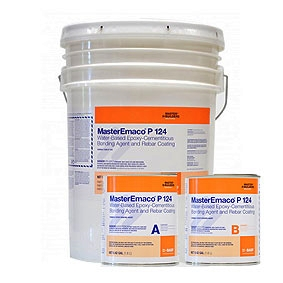 MasterEmaco P 124 Cementitious Bonding Kit, 67-lb - MasterEmaco P 124 (formerly Emaco P24) Kit. Blue color, water-based epoxy-cementitious bonding agent used for bonding concrete and mortar or a rebar coating. 3-Part 4.8G Kit, 67 Lb. Price/Kit. (special order; see ordering notes in detail view)