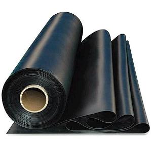 BLACK EPDM Rubber Roofing Membrane, 60 Mil, 10x50 Ft., CLEAN   BLACK
