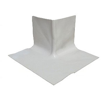 WHITE EPDM Premolded OUTSIDE Corner Flashing - WHITE Color EPDM Pre-Molded Outside Corner Flashing, 11-3/4 x 11-3/4 x 7 inches high, .060-.075 mil Solid White Virgin EPDM Rubber. Price/Each.