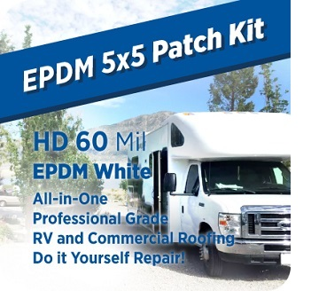 EPDM 5x5 Roof Patch Kit, 60 mil WHITE - EPDM 5x5 Roof Patch Kit with 60 Mil WHITE EPDM. Everything to make a professional permanent EPDM roof repair. Includes EPDM Rubber, Adhesive, Cleaner, Primer, Perimeter Seam Tape, Edge Sealant, Tools, Nitrile Gloves, Instructions, Safety Sheets. Price/Kit