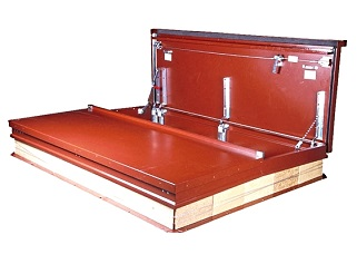 5 x 10 ft. Double Door Equipment Access Roof Hatch, all Galv. - 5 ft. x 10 ft. Double Door Equipment Access Roof Hatch, Galvanized Steel Curb and Doors, Red Oxide Powdercoat Finish. Price/Each. (special order; leadtime 2-3 weeks, use FreightQuote Shipping)