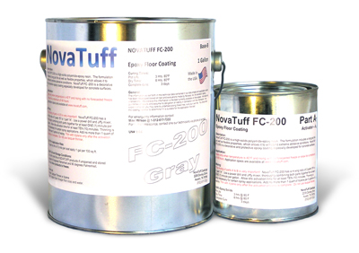 NovaTuff FC-200 Protective Epoxy Floor Coating, Nickel-Gray Color, 1G - NovaTuff FC-200 (formerly AES-200) Protective Epoxy Floor Coating for Concrete, High Abrasion, Jet Fuel / Chemical Resistant. 2-parts. Nickel Gray Color. 1-Gallon Kit. Price/Kit. (Flammable, Ground or truck shipment only; lead time 2-4 business days)