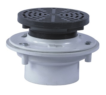FD-1160 Chem. Resistant Floor Drain, 6-1/2 in. OD, SPECIFY OUTLET - Watts Drainage FD-1160 Chemical Resistant PVC floor drain. With anchor flange, reversible clamping collar with weepholes, 6-1/2 in. round heel proof adj. PVC strainer, socket outlet (for welded PVC pipe). Price/Each. (Specify Outlet before adding to cart)