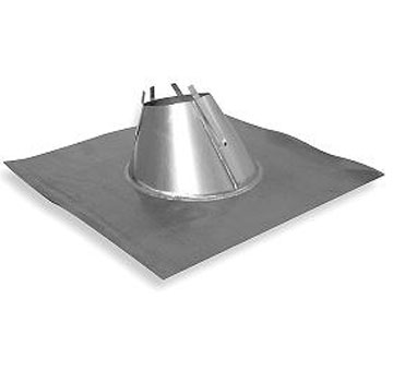 Fan Exhaust Flashing, 10 inch, 30X28 Lead Base (1) - 10 inch Fan Exhaust Flashing, 30x28 inch base of 4# Lead. 24 Gauge Galvanized Upper Section fits 10 in. single-wall Roof Fan Exhaust Pipe. Price/Each. (see ROOF PITCH in order comments; leadtime 2-3 business days)