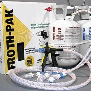 Dow Froth-Pak 115 Foam Sealant Kit, 3.4 PCF - Dow Froth-Pak 115, High Density Foam Sealant Kit. 3.4 PCF 2-Part Foam. Yields 90 Board Feet/7.5 Cu.Ft. Kit includes A/B tanks of adhesive, 9
