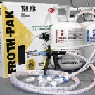 DOW #157875 KIT, FROTH-PAK 120, 1.75PCF - DOW FROTH-PAK 120, COMPLETE KIT. 1.75 PCF HIGH DENSITY 2-PART SPRAY-FOAM INSULATION SYSTEM. 120 BOARD FEET / 10 CU.FT. Kit with A/B tanks of adhesive, 9