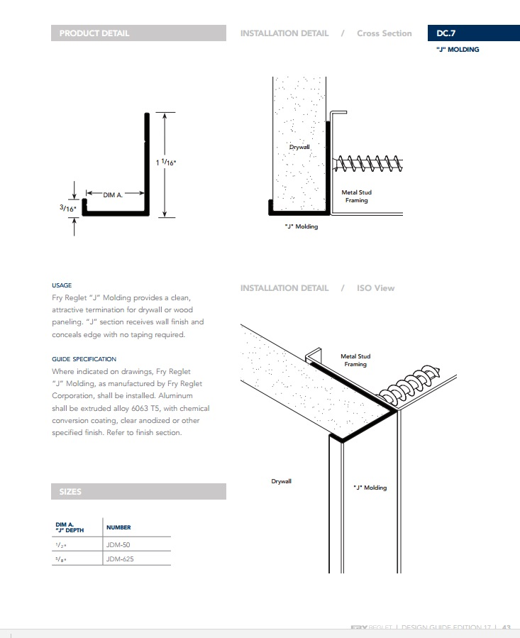 Drywall Edge Profiles : J molding for drywall ft specify finish