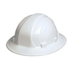 Omega II Full Brim White Hard Hat, 6-Point Suspension With Ratchet - #19911 White Hard Hat, OMEGA II Full Brim 6-Point Suspension with Mega Adjustable Ratchet. OUR BEST SELLING FULL BRIM HARD HAT.