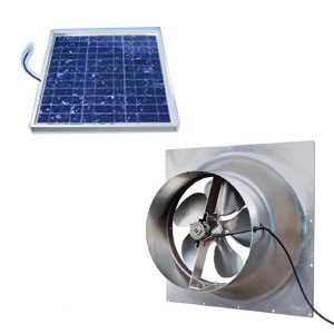 Solar Powered Gable Mounted Attic Fan, 50W, 1900 CFM - Solar Powered Gable Mounted Attic Fan Kit. Includes 50-Watt Roof-Mounted Solar Panel and and Gable Mount Fan. Price/Kit. (UPS Shipping Only)