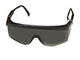 Smoke Black Tinted Safety Glasses w/ Black Frame 12 Pack - STING-RAYS OVER GLASSES, ADJUSTABLE SAFETY GLASSES, MEETS ANSI Z87.1. BLACK FRAME WITH SMOKE BLACK LENS. 12/PACK. PRICE/PACK.