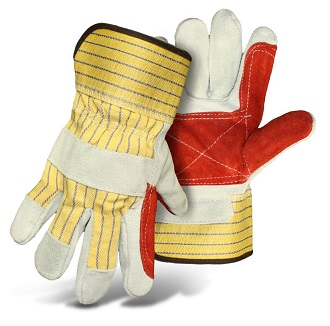 Double Split Leather Palm Gloves w/ Rubberized Safety Cuff - Double Split Leather Palm Gloves with Rubberized Safety Cuff. Heavy Duty with Double-Palm-Leather. Large Size. Boss # 1JL2392. Price/Pair. (12 pair per case; order full cases for added discounts)
