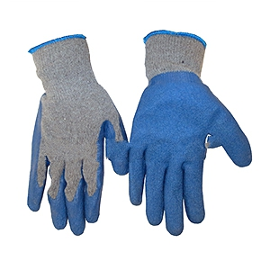Gloves, Premium Double-Rubber-Dip Poly-Cotton, Large (Pair) - PREMIUM POLY-COTTON GLOVE WITH DOUBLE-DIP TEXTURED BLUE RUBBER ON PALM AND FINGERS. LONG LASTING GLOVE TRIMMED WITH ELASTIC TRIM, EXTRA LONG WRIST. LARGE SIZE. PRICE/PAIR.