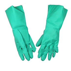 Nitrile Chemical Gloves, HD 15 mil, Large, 1-pair - NITRILE CHEMICAL GLOVE, VERY HEAVY-DUTY 15 MIL NITRILE, POWDER FREE, TEXTURED, UNLINED, 13 INCH NO-CUFF, LARGE, INDIVIDUALLY WRAPPED PAIRS. PRICE/PAIR.