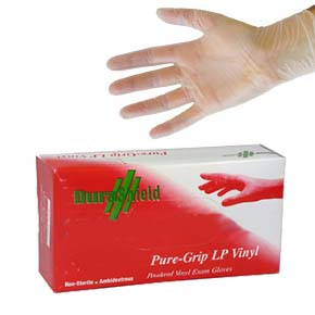 VINYL Gloves, Powdered, Large Size (Box/100) - VINYL GLOVES # 4075L, INDUSTRIAL GRADE, EXTRA STRONG 5 MILS THICK, LIGHTLY POWDERED, LARGE SIZE. 100/BOX. PRICE/BOX.