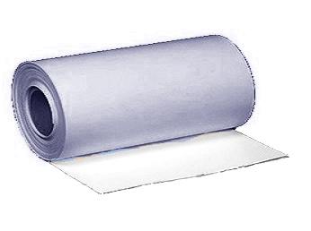 PVC 60 mil, WHITE/GRAY, Non-Reinf. Flashing, 12 in. x 50 ft. - PVC 60 mil WHITE/GRAY Non-Reinforced Flashing Membrane. 12 inch Wide x 50 Foot Roll. White One Side, Gray on Other (gray is lighter than shown in photo. Price/Roll. (aka #327840)