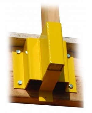 Guardian 61029 2x4 Guardrail Receiver - Guardian #61029 2x4 Guardrail Receiver. Yellow Powder Coated Steel. Used with 2x4 boards (not included). Price/Each.