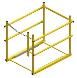 48 X 48 in. Roof Hatch Safety Railing, Yellow - OSHA safety railing system for 48 in. x 48 in. Roof access hatch. Fits all design hatches. Yellow powder coat finish. Price/system.  (aka HR5656, SHWC-4848)