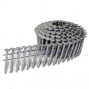 1-1/2 x .120 Hot Dipped Coil Roofing Nails, RING Shank (7200) - 1-1/2 Inch length x .120 wire, Hot Dipped Galvanized, RING shank, Coil Roofing Nails, Wire Collated, 120/Coil, 60 coils/box. 7200 Nails/Box. Price/Box.