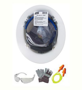 New Hire Safety Kit w/ Americana Full Brim Ratchet Helmet - New Hire Safety Kit. Contains Americana Full Brim White Ratchet helmet (ANSI Z89.1), Economy Boas clear eye protection (ANSI Z87), ERB foam uncorded ear plugs and a pair of leather palm work gloves. Price/Kit.