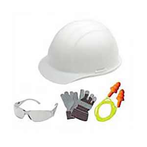 New Hire Safety Kit w/ Liberty White Helmet - New Hire Safety Kit by ERB Safety. Contains a Liberty White helmet, Boas Clear eye protection, ERB Corded reusable ear plugs and a pair of work gloves. Price/Kit.