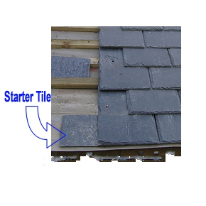 InSpire Synthetic Slate STARTER Tiles, Class-C, Specify COLOR (25) - Synthetic Classic Slate Roof STARTER Tiles, Class-C. Made in USA by Inspire Roofing. 25 Tiles/Bundle. Price/Bundle. (specify COLOR before addding to cart; leadtime 3-4 weeks; see detail view for added terms)