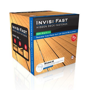 Invisi-Fast Deck Fasteners, 3/16 Bar, 100 Piece w/ACQ Screws - # IF-A100-316, 100 piece Invisi-Fast 3/16 Inch Spacebar, Invisible Deck Fastener Kit with ACQ grade screws. Kit has 88 deck pieces with 3/16 spacebar, 12 without a spacer for perimeter fastening and 300 1-1/8 ACQ compatable screws. Price/Kit.