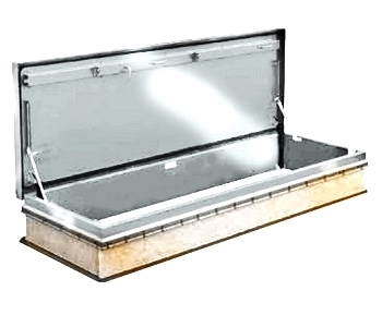 30 x 96 Roof Access Hatch,  Diamond Series, Aluminum, Mill Finish - Roof Access Hatch, Diamond Series, 30 x 96 inch Opening, Mill Finish 11 Gauge (0.091) aluminum. Self flashing base. Stair Access Design. Hinge is on 96 inch side. Price/Each. (shipping leadtime 1-3 weeks)