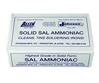 Pure Sal Ammoniac, 1/2-Lb. Solid-Form Bar - Johnson Manufacturing # 24-100-09 Pure Sal Ammoniac, 1/2-Lb. Solid-Form Bar. Price/Each.