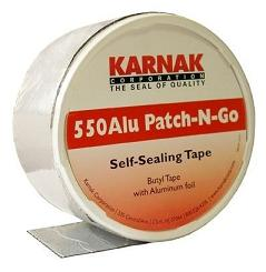 Karnak #550S Patch-N-Go 4 in. Aluminum Faced Flashing Tape, 8-Rolls - Karnak #550S-04 SILVER / ALUMINUM Color Patch-N-Go, 4 Inch x 65.5 foot Rolls. High-Temperature Butyl Rubber Aluminum Faced Peel/Stick Flashing. 8-Rolls/Case. Price/Case. (shipping leadtime 2-3 days)
