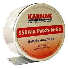 Karnak #550W Patch-N-Go 4 in. Wide WHITE Color Flashing Tape, 8 Rolls - Karnak #550W-04 WHITE Color Patch-N-Go, 4 inch wide x 65.5 foot Rolls. Butyl Rubber with Aluminum Facing, Peel/Stick Flashing and Repair Tape. 8-Rolls/Case. Price/Case. (shipping leadtime 2-3 days)