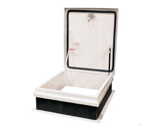 36 X 30 RB-1 Roof Hatch, Single Leaf Hatch, Galvanized Steel, White - Milcor RB-1 36 X 30 inch, Single Leaf Roof Access Hatch, Galv. Steel Cover and Curb, Fiberglass Insulation in Lid. Made in USA. Price/Each. (aluminum shown in photo; shipping lead time is 5-10 business days)