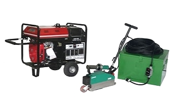 BAK LarOn Automatic Roof Welder with Generator, Deluxe Kit - BAK LarOn Automatic Roof Membrane Welder Deluxe Kit. LarOn Hot Air Welding Machine, Metal Box, 12500 Watt Honda Powered Gillette Generator, 100 foot 240V GFCI Power Cord, L630 Plug, Connectors. Price/Kit. (see detail view for shipping restrictions)