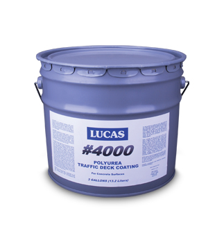 LUCAS #4000 Polyurea Traffic Deck Coating, 2-Part, 3 Gallons, SPECIFY COLOR - LUCAS #4000 Polyurea Traffic Deck Coating. For concrete patios, balconies, chemical containment areas and other area where durability, chemical and wear resistance is needed. 2-Part, 3 Gallon Kit. Price/Kit. (SPECIFY COLOR before adding to cart)