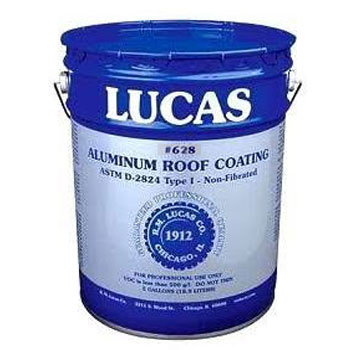 Lucas 628 Aluminum Roof Coating Utility Grade, Non-Fibrated (5G) - Lucas 628 Aluminum Roof Coating. Non-Fibered. Provides a reflective surface for roofs, metal buildings, and mobile homes. 5-Gallon Pail. Price/Pail. (flammable; ground shipment only; special order, shipping leadtime 2-4 days)