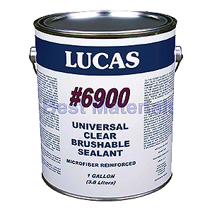 Lucas 6900 Universal Clear Sealant, 5 Gal. - Lucas 6900 Universal Clear Sealant - Brushable Grade Sealant is Microfiber Reinforced is a high-performance, multipurpose thermoplastic elastomer based sealant. 5 Gallon Pail. Price/Pail. (flammable, UPS ground or truck shipment)