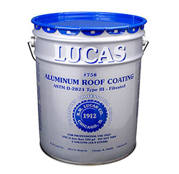 Lucas 758 Fibered Aluminum Roof Coating (5G) - Lucas 758 Fibered Aluminum Roof Coating. Provide a durable reflective surface for roofs, metal buildings, and mobile homes. ASTM D-2824 Type III and Miami-Dade approved. 5-Gallon/Pail. Price/Pail.