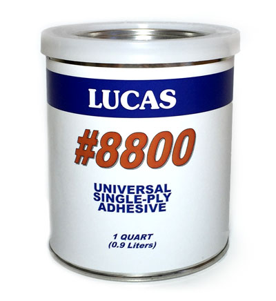 Lucas Universal Bonding Adhesive For EPDM/TPO/PVC (1-Qt) - Universal Bonding Adhesive 8800 by Lucas. Low VOC, Water based, contact adhesive for securing EPDM, TPO, PVC and other single-ply membranes to most roofing substrates. 1-Quart Can. Price/Can.
