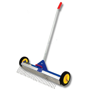 AJC 30 in. Rolling Magnetic Sweeper w/ Rake (ground ship only) - AJC #070-RMS ROLLING MAGNETIC SWEEPER WITH #070-RA RAKE ATTACHMENT. STAINLESS STEEL MAGNETIC BOX IS 30 INCHES WIDE. (ground shipment only)