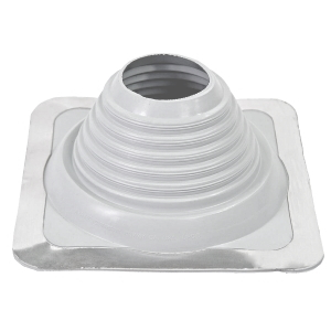 #5 Master Flash WHITE Color EPDM Square-Base Pipe Flashing - #5 Master Flash WHITE Color EPDM Pipe Flashing Boot. 11 X 11 Inch Square Base. 4 Inch Open Top. Fits 4 Inch - 8-1/4 Inch Pipes. Price/each Boot. (gray item shown in photo; order in cases of 10 for discount)