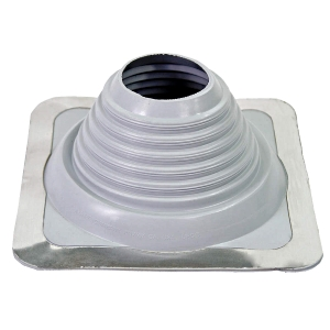 #5 Master Flash GRAY Color EPDM Square Based Flashing Boot - #5 Master Flash GRAY Color EPDM Pipe Flashing Boot. 11 x 11 inch Square Base x 4-5/8 inch high, 4 inch OPEN TOP. Fits 4 - 8-1/4 inch Pipes. Price/Boot.