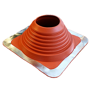 #7 Master Flash Red Silicone Square-Base Pipe Flashing - #7 Master Flash Red Silicone Pipe Flashing Boot. 14x14 Inch Square Base. Fits 5.5 To 11.5 Inch Pipes. Price/each.