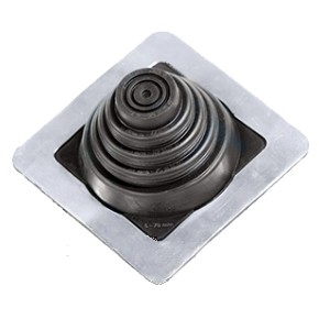 #1 Masterflash Black EPDM Square-Base Pipe Flashing - #1 Master Flash Black EPDM Pipe Flashing Boot, 4-1/2 X 4-1/2 Inch Square Base. 2-1/8 High. 20 Year Warranty. Fits Pipe Sizes 1/4 To 2-3/4 Inch. Price/each.(15/case. Order full cases for extra discounts)